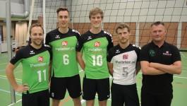 vlnr Gerben Dambrink, Manuel Smit, Aart Kooiman, Maarten Janssen, Johan van Zelderen